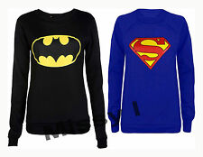 Womens Longsleeve Batman Superman Logo Print Pullover Sweatshirt Jumper Top 8-14