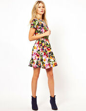 ♥New ASOS Stunning Bright Pansy Floral Print Skater Dress Size 4 6 8 10 12 14 ♥