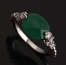 Green IMPLICIT Emerald Topaz Gemstones Silver Rings US#Size5 6 7 8 9 T0132