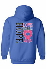 UNISEX BREAST CANCER AWARENESS ZIP UP HOODIE Hope Love Faith PINK RIBBON S-5XL