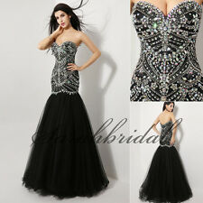 Black Formal Evening Long Dresses Mermaid Beading Pageant Prom Gowns In Stock