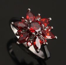 Fashion Jewelry Garnet Gemstones ARCHAIZE Silver Rings US#Size5 6 7 8 9 T0035