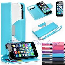 Luxury Flip PU Leather Wallet Case Stand Cover Card Pouch For Apple iPhone 5 5S