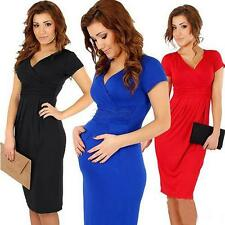 Sexy Pregnant Womens Stretch V-neck Dress Maternity Evening Cocktail Party Dress
