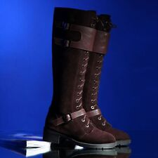 Suede Leather Womens Punk Lace Up Buckle Deco Fur Lining Knee High Boot Shoes