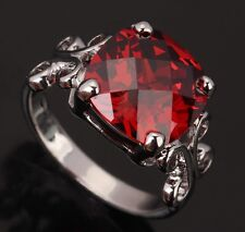 Square Fashion Jewelry Red Garnet Gemstones Silver Rings US#Size5 6 7 8 9 T0223