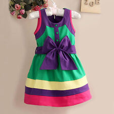 Baby Girls Kids Hit color Bow-knot Sleeveless Party Vest Stripe Dress 2-8Y Hot