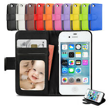 New Leather Stand Wallet Card Case Flip Pouch Cover For Apple iPhone 4S 4G 4