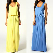 New Sexy Women Summer Casual Sleeveless Party Evening Cocktail Long Maxi Dress