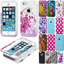 For T-Mobile Apple iPhone 5S 5 Case HYBRID VERGE Rubber Hard Soft Cover Zebra
