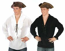 Mens Pirate Shirt Swashbuckler Caribbean Pirates Frilly Lace-Up Adults Costume