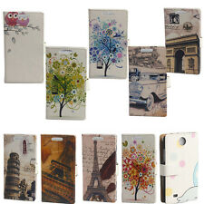 Owl Eiffel Tower Wallet Card Slot Flip Leather Case Cover For HTC Desire 300