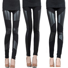 Sexy Women Leggings Faux Leather Splicing Stretchy Elastic Waist Trousers Tights