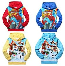 US Hot Boys Spider-Man or frozen cartoon Long-sleeved Sweatshirts & Hoodies 2-8Y