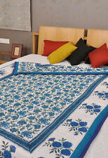 Vintage Quilt Cotton Quilted Hand Block Printed Reversible Doona Duvets Quilts