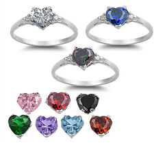 FREE SHIP! HEART GEMSTONE .925 Sterling Silver Ring Baby Gift Promise Sizes 4-10