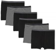 Big Men's Underwear Cotton BOXER BRIEFS 6-Pack 3XL - 7XL Blacks Gray Hanes #1227