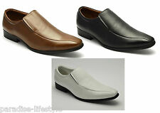 Mens Slip-on Leather Shoes White Formal Evening Party Black Boots Tan Size New
