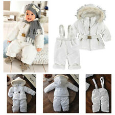 New Baby Girl Boy Winter Pure White Snowsuit Set Snow Jacket Coat+Pants Outwear