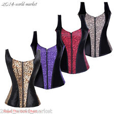 UK Sexy Lace up Boned Zipper Overbust Corset Bustiers Slim Waist Vest Top 6-16#Y