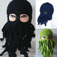 Unisex Halloween novelty Funny keep warm Knitted Octopus Mask Cap