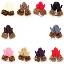 New Winter Warm Mittens Thick Knitted Weave Woolen Fur Halter Strap Gloves Girl