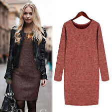 Sexy Women Ladies Knit Wool Long Sleeve Jumper Pullover Crew Neck Sweater Dress