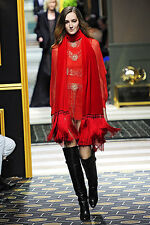 H&M Paris Runway Collection Red Chiffon Beaded Embroidered Dress UK 10 EUR 36
