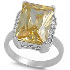 Beautiful Radiant Shape Yellow & White Cz .925 Sterling Silver Ring Sizes 6-10
