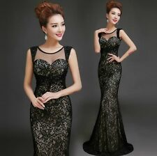 Black lace Shoulder Dress fishtail branching cultivate one's morality dress D164