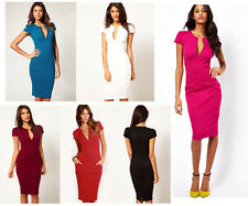 Women Celeb Style V-neck Party Tunic Wear To Work Shift Sheath Pencil Dress