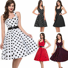 US FAST~Housewife Vintage Retro 50s Polka Dot Swing Party Pinup Rockabilly Dress