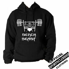 Official Bench BEAST Hoodie S-XXL Body Building, Gym, Weight Training Black