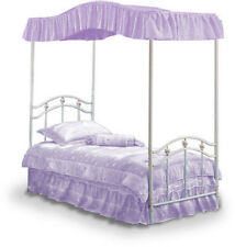 FULL LAVENDER CANOPY COVER  OR   POLE DRAPES  HEART EMBROIDERED RUFFLES  BEDDING