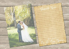 PERSONALISED  PHOTO DOUBLE SIDED VINTAGE NOTE PAPER WEDDING THANK YOU CARDS