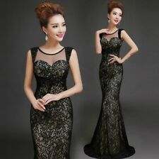 New Sexy Black Formal Wedding Prom Party Bridesmaid Evening Ball Gown Dress L226