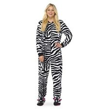 Women's Zebra Footie PJ Black/White