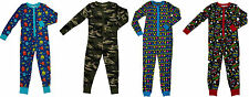 BOYS COTTON ONESIE ALIENS, CAMO, SUPERHERO PYJAMAS NIGHTWEAR 2-14 YRS FREEPOST
