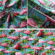 Flamingo Fabric Cotton Material Retro Vintage Birds Metre Fat Quarter Pink Blue