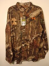 NEW UNDER ARMOUR HUNT MOSSY OAK CAMO LOOSE BUTTON UP SHIRT SIZE MEDIUM LARGE XL