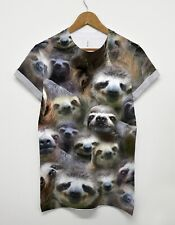 Sloth All Over T Shirt Funny Printed Graphic Animal Lazy Shop Womens Man Top Tee