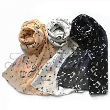 Women Lady Musical Note Black Chiffon Neck Scarf Shawl Muffler