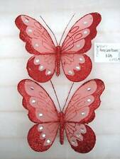 *SET OF 2* LOVELY BUTTERFLY DECORATION/CLIPS: RED *Wedding/Party/Home Dec*