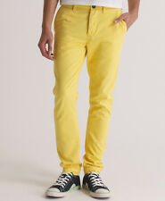 New Mens Superdry Commodity Slim Chino Pant Trousers Acid Yellow SD