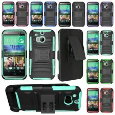 For HTC One M8 2014 Armor Cell Phone Case Hybrid Hard Cover Belt Clip Holster