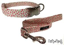 The Fleur Collar & Lead - Pretty White & Red Floral Print Set by Daft Paws