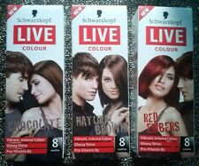 1 NEW Schwarzkoft Live Temporary Hair Dye 8 wash Red, Chocolate, Natural Brown