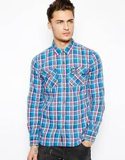 Superdry Mens Lumberjack Twill Shirt Cotton Top Jumper Blue/White/Red, S,M,L New