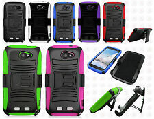 Boost Mobile ZTE Warp Sync N9515 Combo Holster HYBRID KICKSTAND Rubber Cover