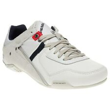 New Mens Diesel White Korbin II Leather Trainers Lace Up